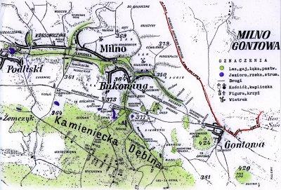 mapka okolic Milna